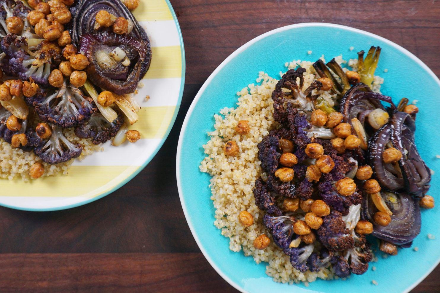 Roasted Purple Cauliflower with Crunchy Chickpeas & Quinoa